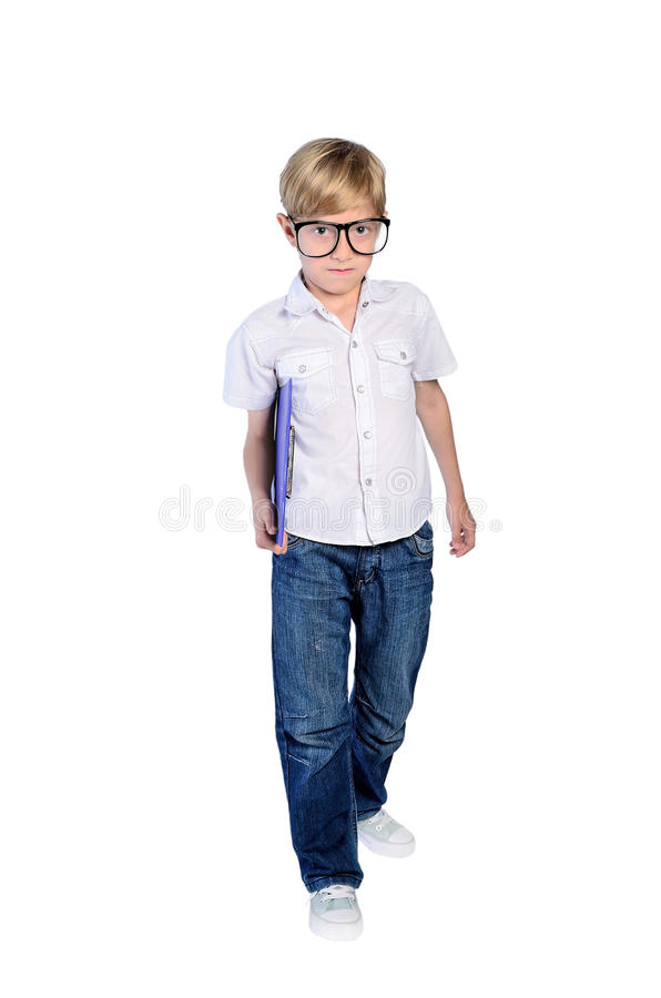 Jonge nerdjongen royalty-vrije stock afbeeldingen