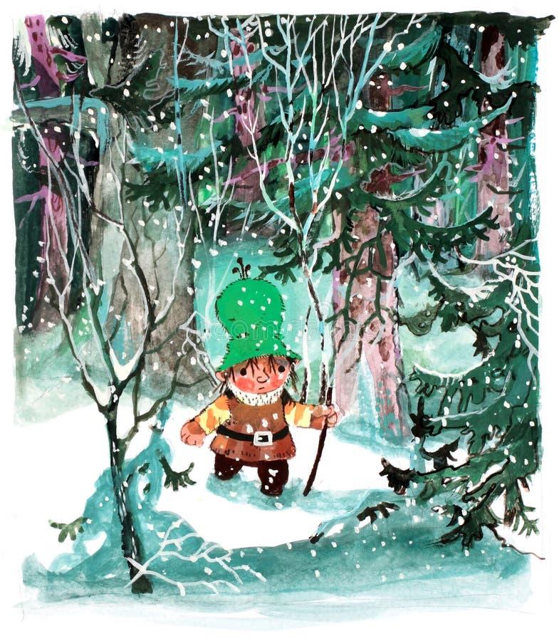 Jonge Nisse in het bos royalty-vrije illustratie