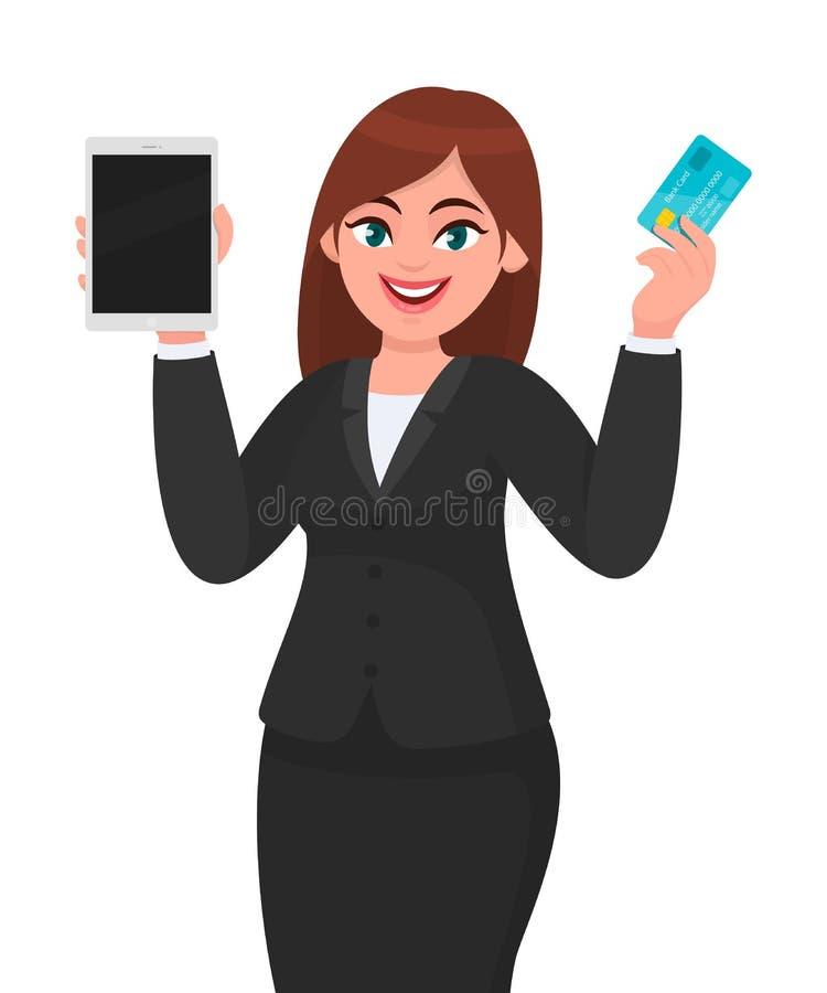Jonge onderneemster die een nieuwe digitale tabletcomputer tonen Het debet van de persoonsholding, krediet, ATM-kaart ter beschik vector illustratie