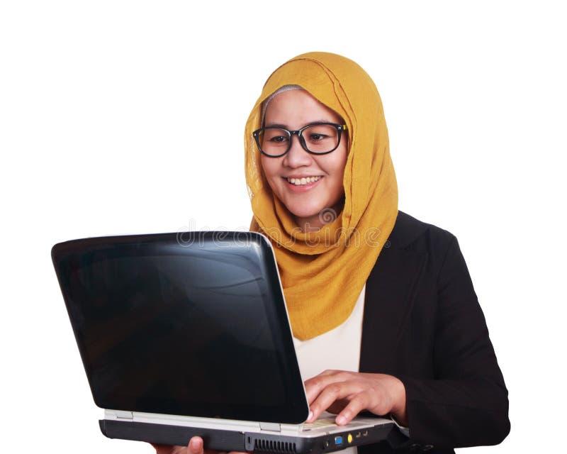 Jonge Onderneemster met Haar Laptop, het Glimlachen Uitdrukking stock afbeelding