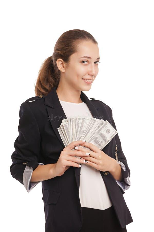 Jonge onderneemster met het geld van het dollarcontante geld stock foto