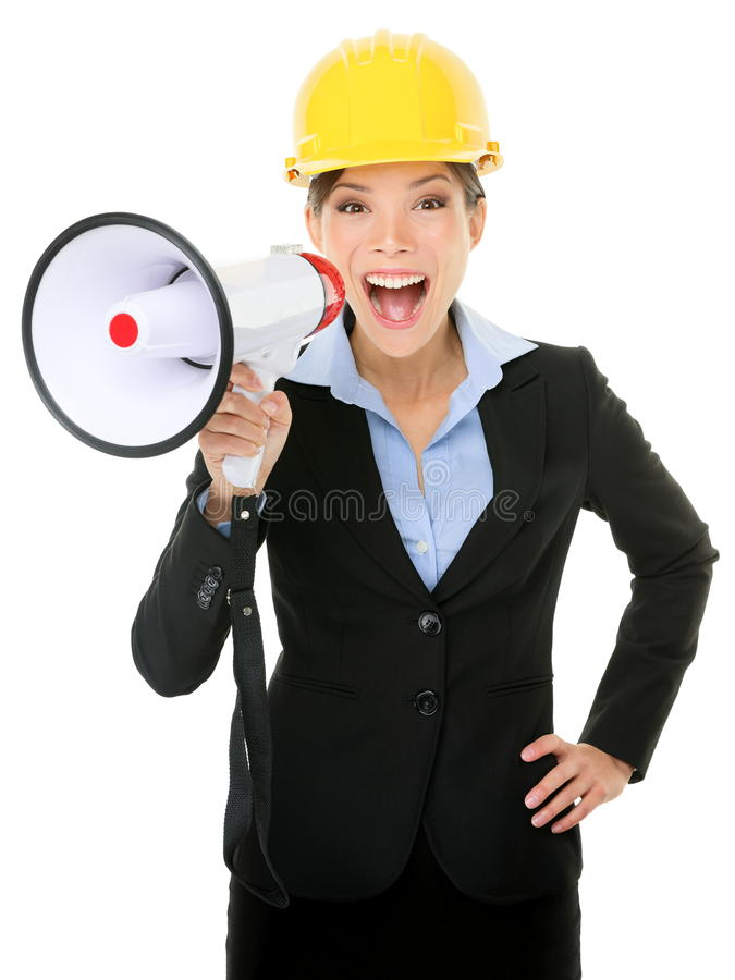 Jonge Onderneemster Shouting Into Megaphone Stock Afbeelding