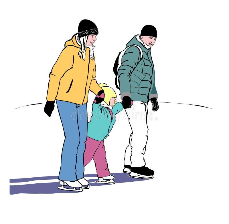 Jonge ouders met een kind op het schaatsen royalty-vrije illustratie
