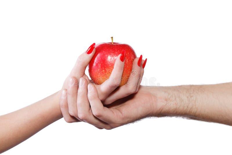 Jonge paarhanden die appel geïsoleerd houden royalty-vrije stock foto's