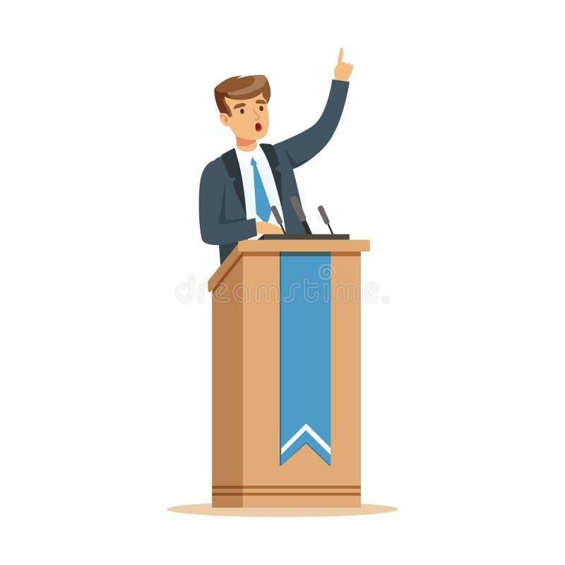Jonge politicus die achter het podium, de openbare vectorillustratie van het sprekerskarakter spreken stock illustratie