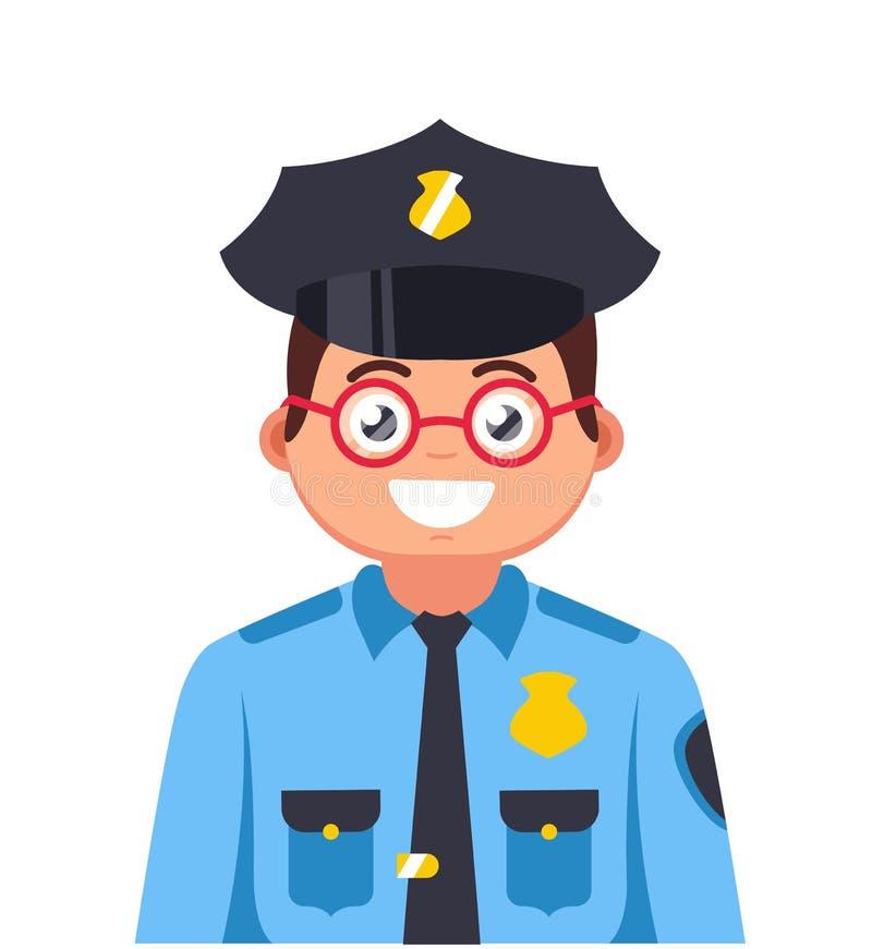 Jonge politieagent met glazen het glimlachen vector illustratie