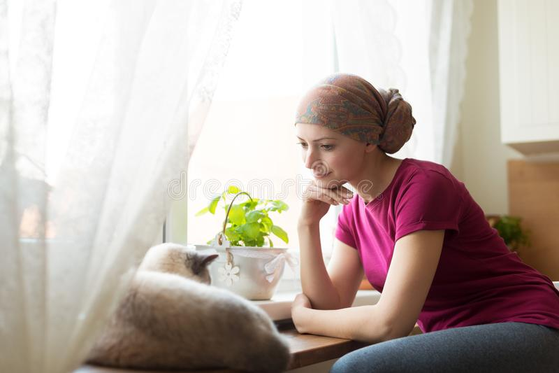 Jonge positieve volwassen vrouwelijke kanker geduldige zitting in de keuken door een venster met haar huisdierenkat stock foto