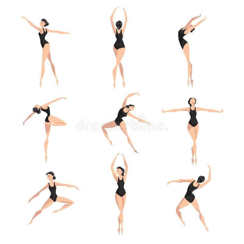 Jonge professionele ballerina dansende vastgestelde, klassieke balletdanser in zwarte maillot vectorillustratie op een wit vector illustratie