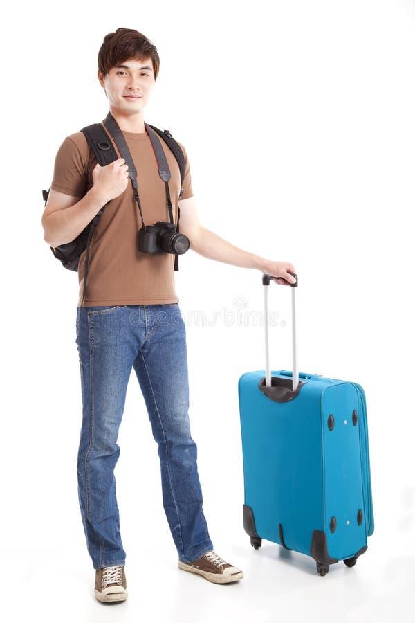 Jonge reiziger met koffer stock foto's