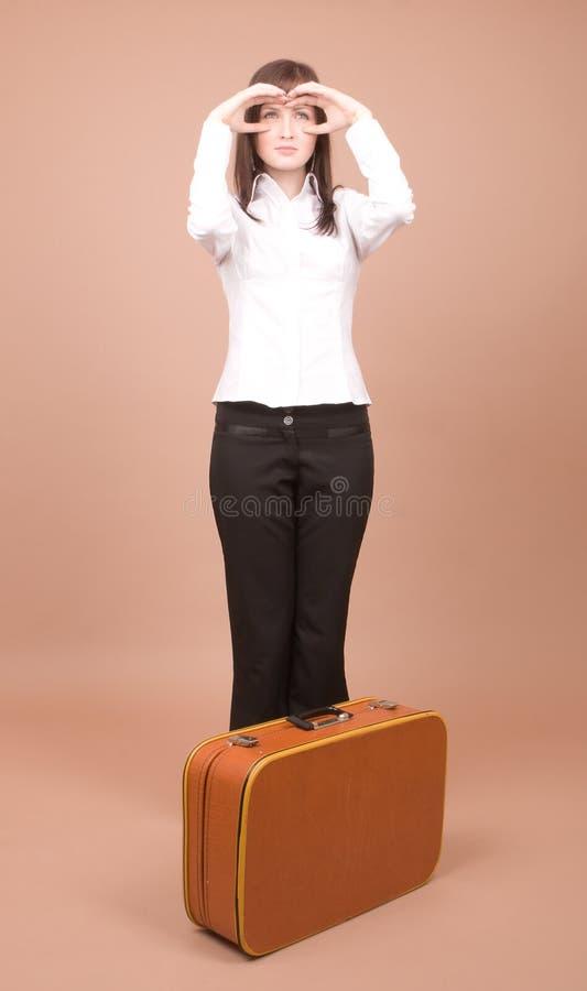 Jonge reiziger met koffer royalty-vrije stock foto