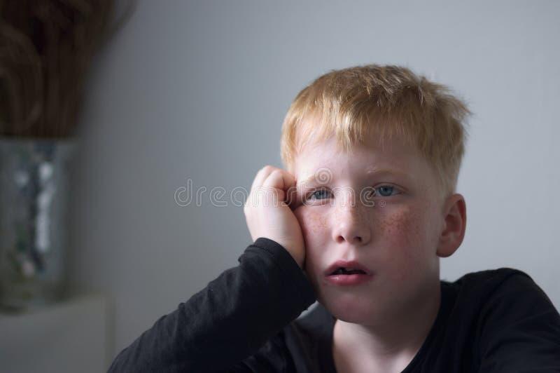 Jonge rode haired jongen met sproeten stock foto