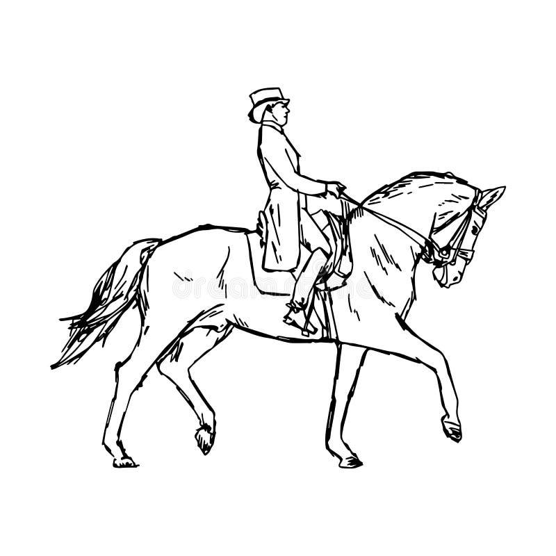 Jonge ruitermens op paard bij ruiterdres van de dressuurconcurrentie vector illustratie