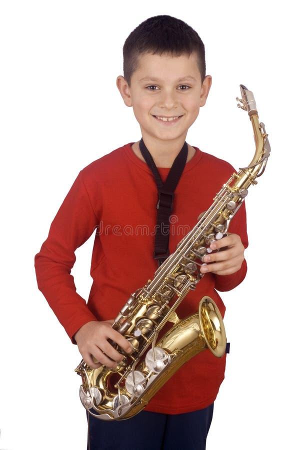 Jonge saxofoonspeler royalty-vrije stock foto