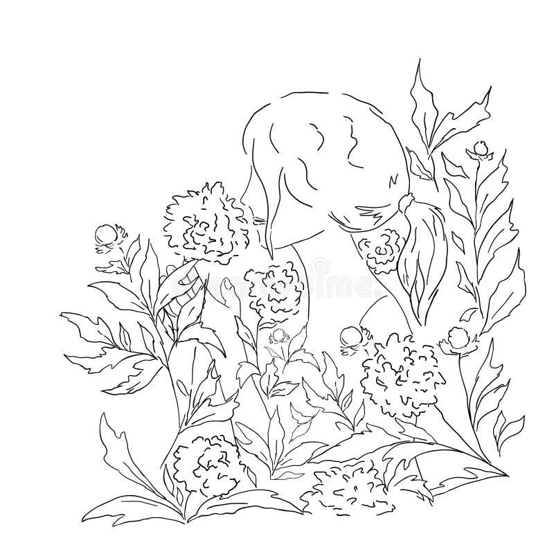 Jonge sensuele vrouw en bloemen royalty-vrije illustratie