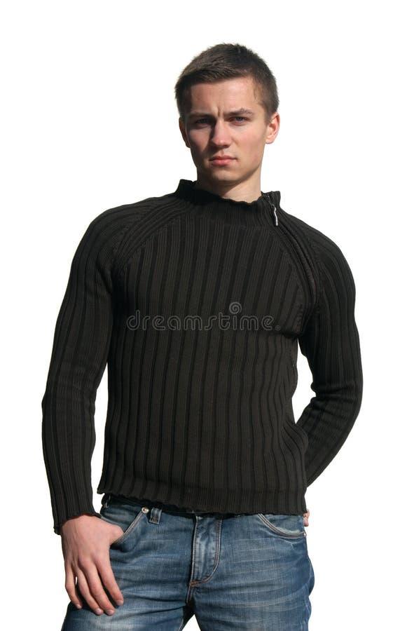 Jonge Sexy Mens die op Wit wordt geïsoleerdr stock afbeelding