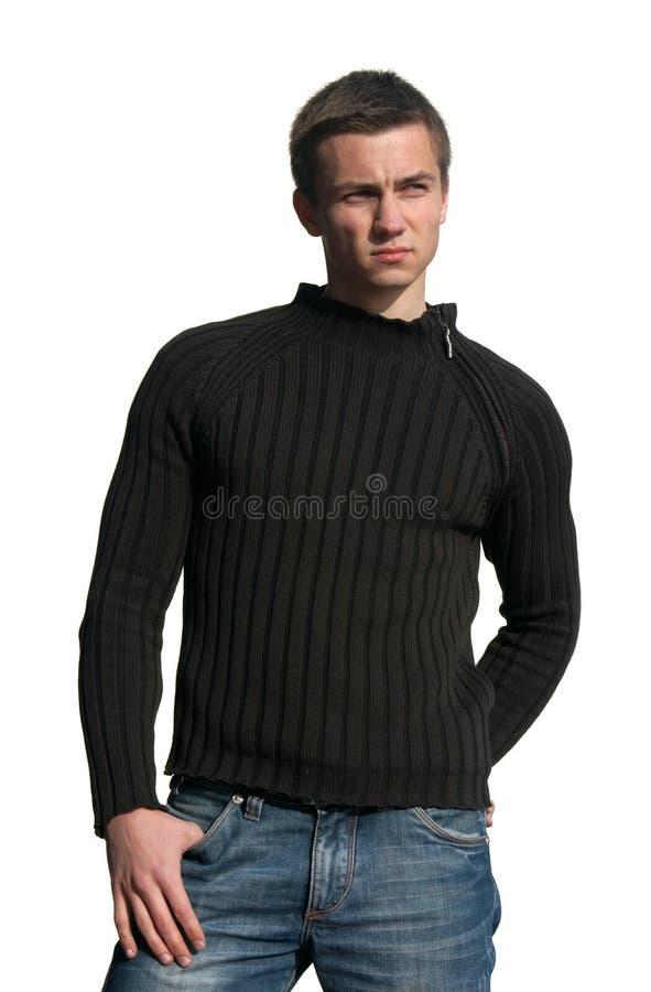 Jonge Sexy Mens die op Wit wordt geïsoleerdr royalty-vrije stock foto