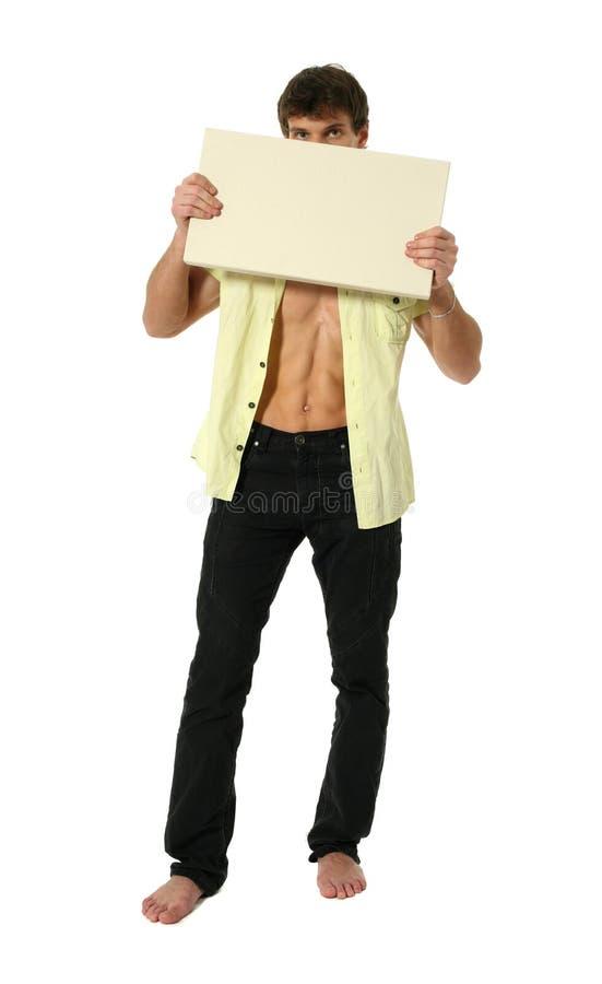 Jonge Sexy Mens met de Ruimte Lege Banner van het Exemplaar stock afbeelding