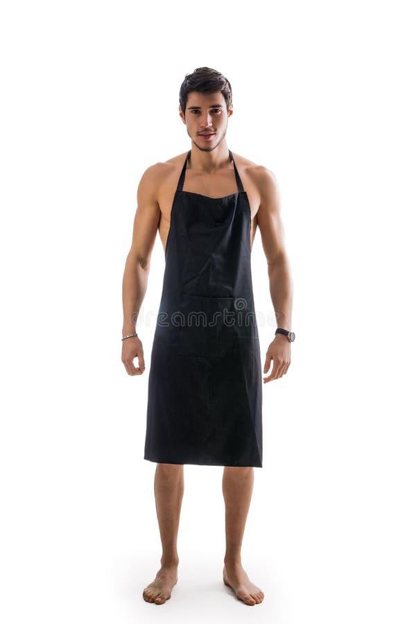 Jonge sexy shirtless chef-kok of kelner die slechts dragen royalty-vrije stock foto's