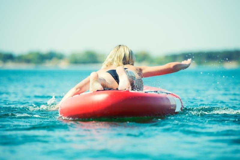 Jonge sexy vrouw die op peddelraad zwemmen Watersporten, actieve levensstijl royalty-vrije stock foto