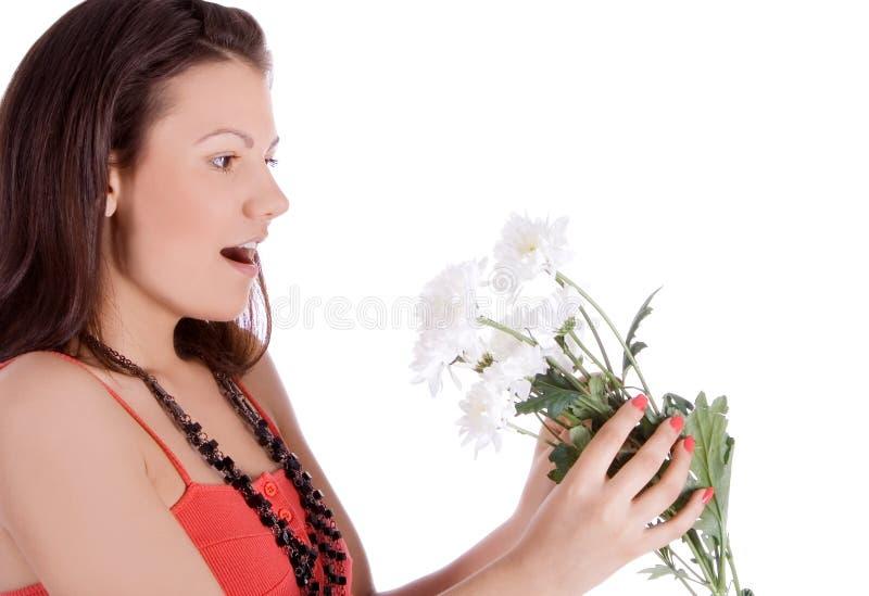 jonge sexy vrouw met een witte bloem. royalty-vrije stock foto's
