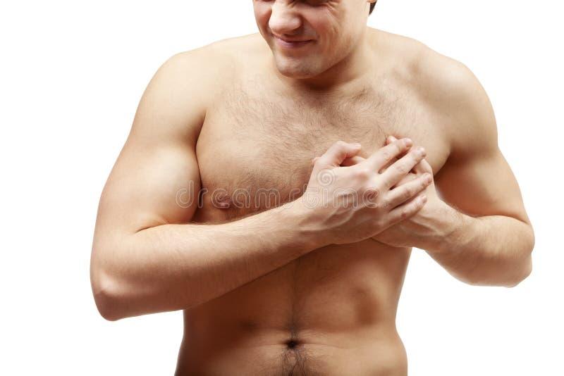 Jonge shirtless spiermens stock afbeelding