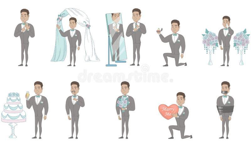 Jonge Spaanse geplaatste bruidegom vectorillustraties vector illustratie