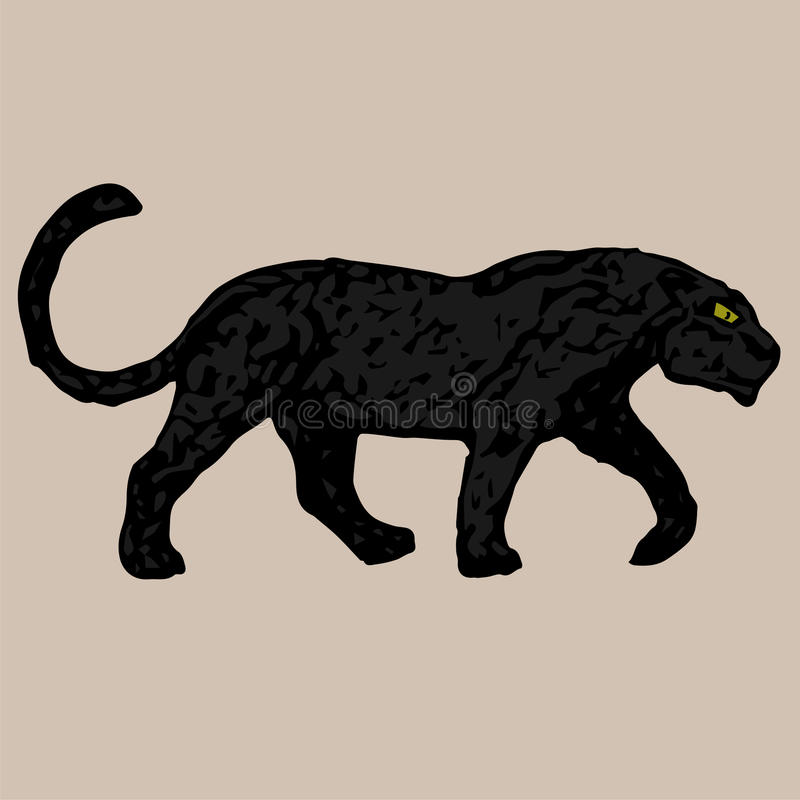 Jonge sterke zwarte panter vector illustratie