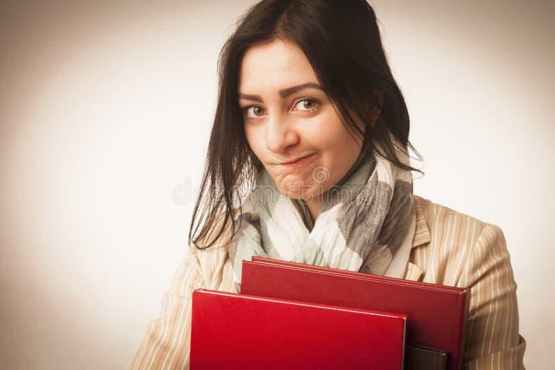 Jonge Student Girl met Boeken & x28; Onderwijs en zelfontplooiing & x29; stock foto's