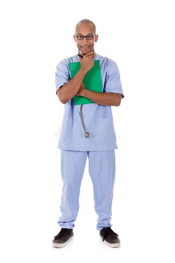 Jonge succesvolle Afrikaanse Amerikaanse mens arts stock afbeelding