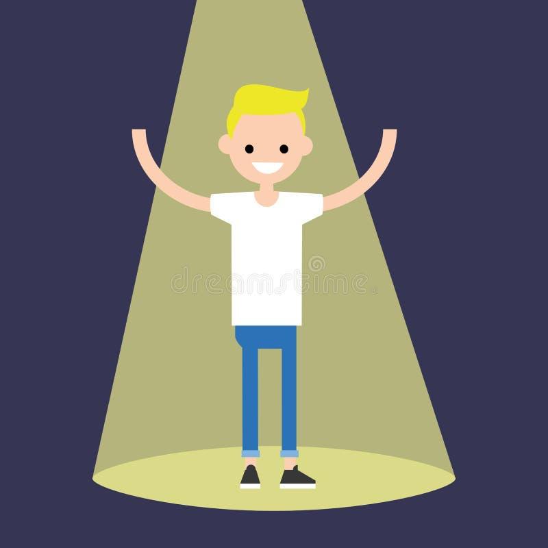 Jonge succesvolle blonde jongen die zich in de schijnwerper bevinden vector illustratie