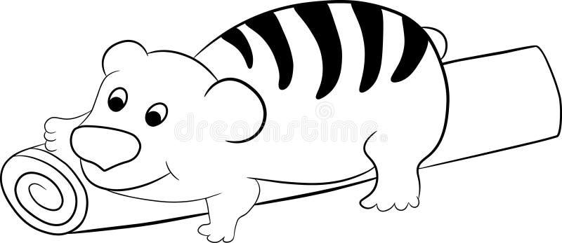 Jonge tijger-beer welp op een houten logboek stock illustratie