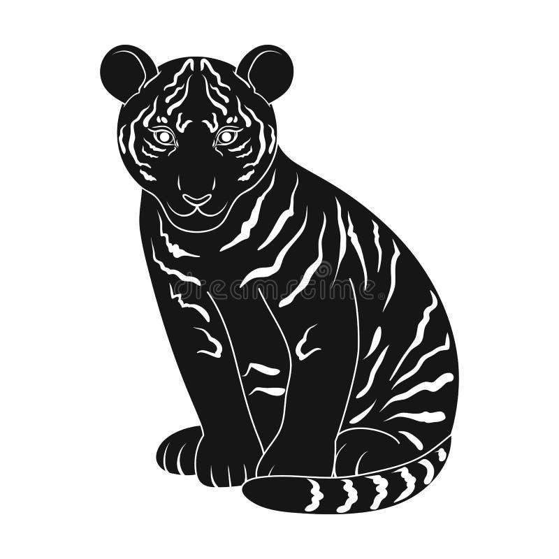 Jonge Tijger De dieren kiezen pictogram in het zwarte Web van de de voorraadillustratie van het stijl vectorsymbool uit stock illustratie