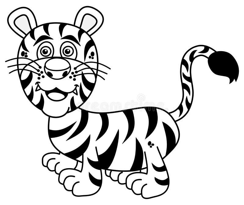 Jonge tijger die voor het kleuren glimlachen stock illustratie