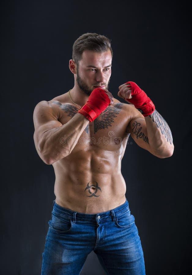 Jonge topless bokser die camera bekijken stock afbeeldingen