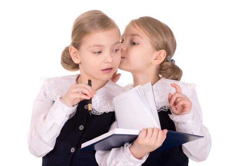 Jonge tweelingen met een notitieboekje stock foto's