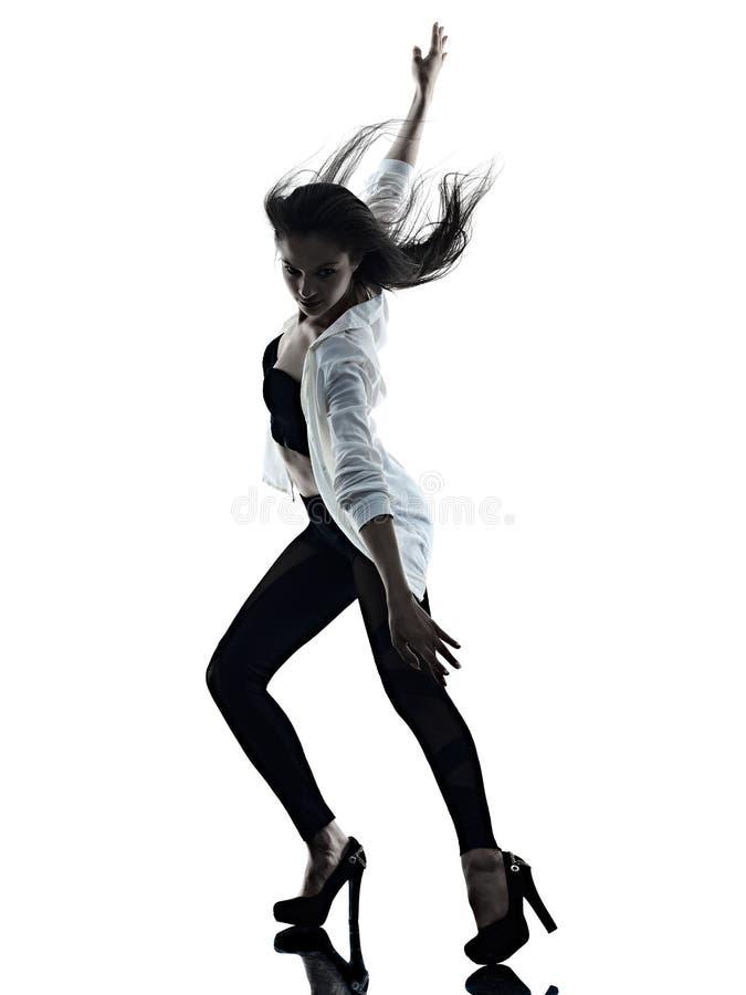 Jonge van de achtergrond vrouwen moderne balletdanser dansende ge?soleerde witte silhouetschaduw royalty-vrije stock foto