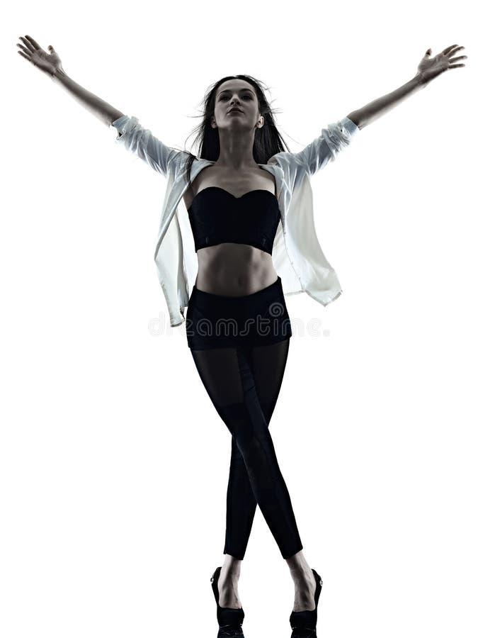 Jonge van de achtergrond vrouwen moderne balletdanser dansende ge?soleerde witte silhouetschaduw royalty-vrije stock foto's