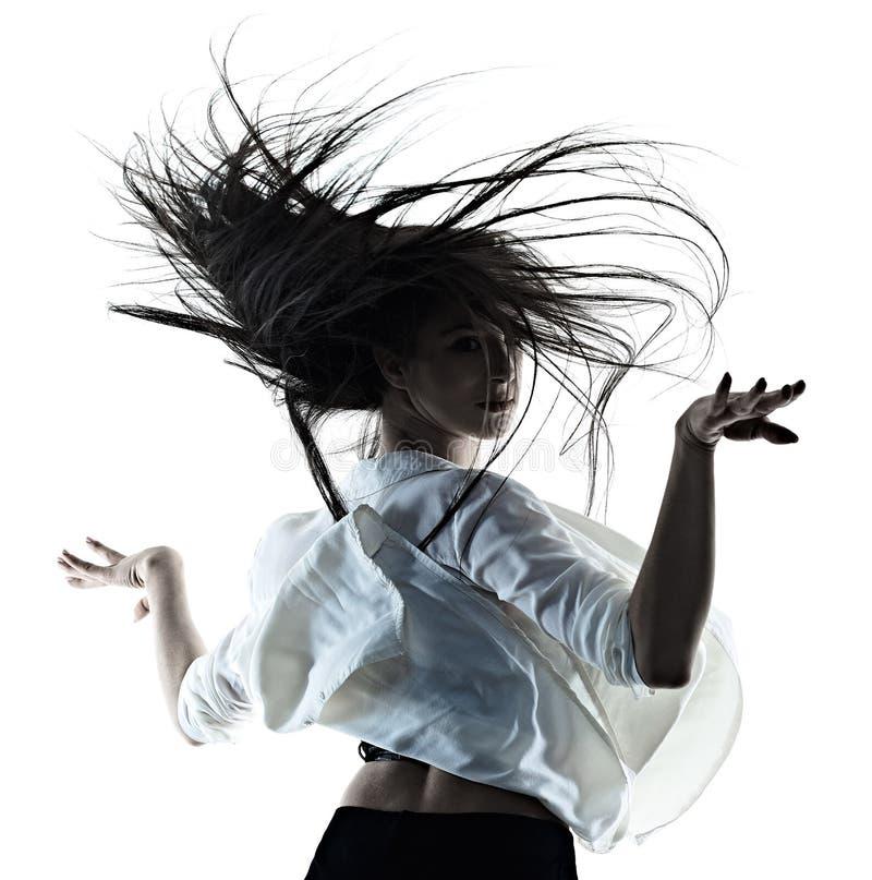 Jonge van de achtergrond vrouwen moderne balletdanser dansende ge?soleerde witte silhouetschaduw royalty-vrije stock afbeeldingen
