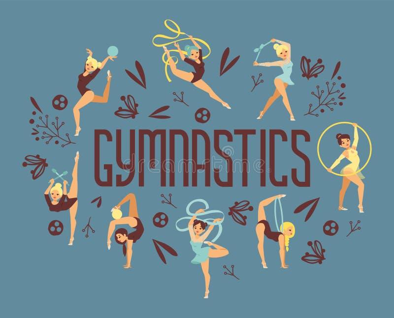 Jonge van de de oefeningssport van de meisjesturner de atleten vectorillustratie De opleidende mensen van het de gymnastieksaldo  royalty-vrije illustratie