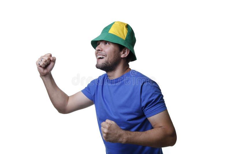 Jonge van de de spelenventilator van Brazilië de voetbalsporten royalty-vrije stock afbeeldingen