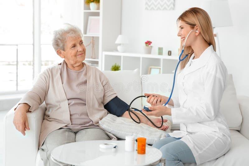 Jonge verpleegster die bloeddruk van bejaarde meten royalty-vrije stock foto