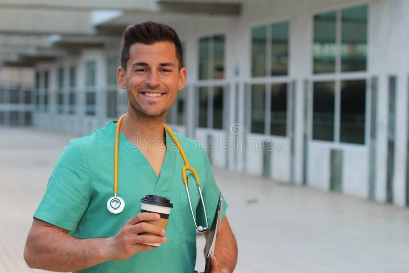 Jonge verpleger met exemplaarruimte stock foto's