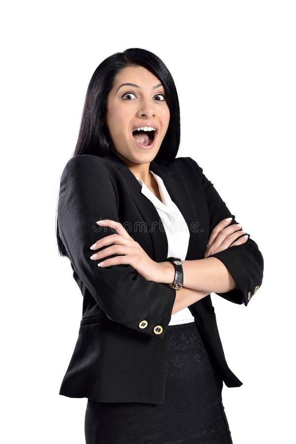 Jonge verraste vrouw stock foto