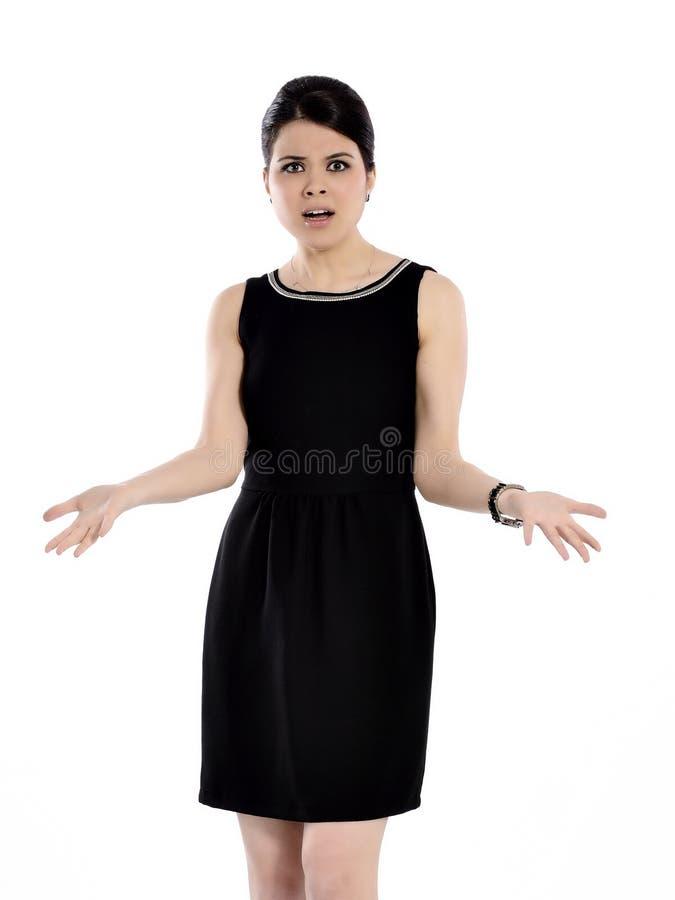 Jonge verraste vrouw stock afbeelding