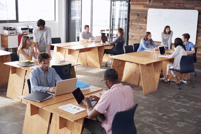 Jonge volwassen collega's die in bezig bureau, opgeheven mening werken stock afbeelding