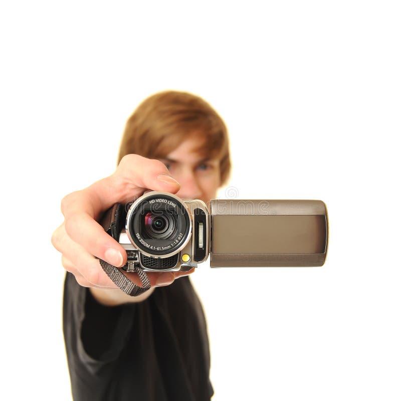 Jonge volwassen holding camcorder royalty-vrije stock fotografie