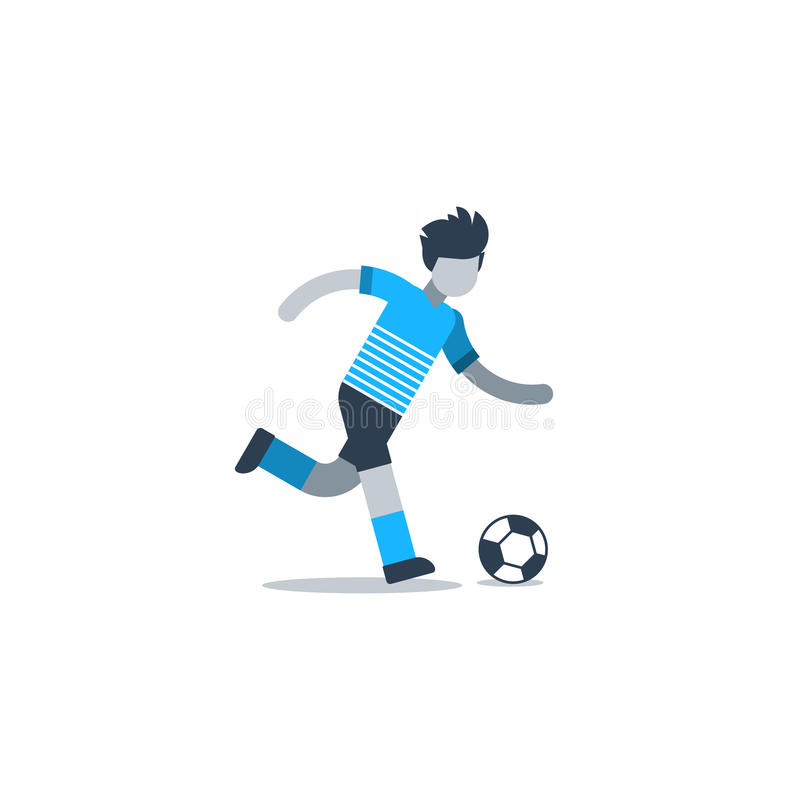 Jonge of volwassen voetballer in blauwe eenvormig stock illustratie