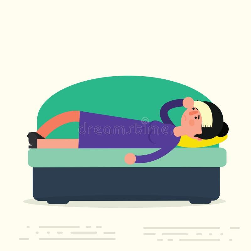 Jonge volwassen vrouw die op bank met ziekte liggen Zieke vrouwelijke resti vector illustratie