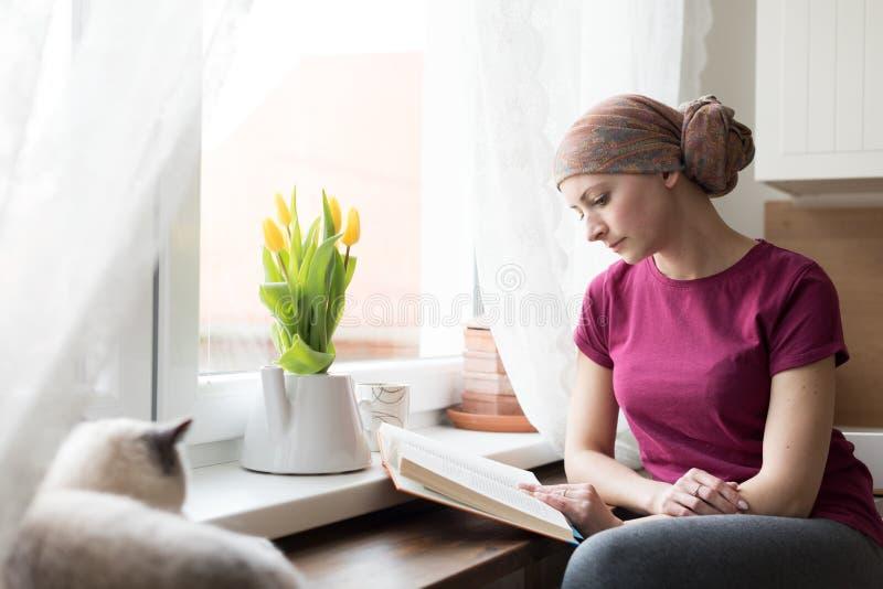 Jonge volwassen vrouwelijke kankerpatiënt die headscarf zitting in de keuken met haar huisdierenkat dragen royalty-vrije stock afbeelding