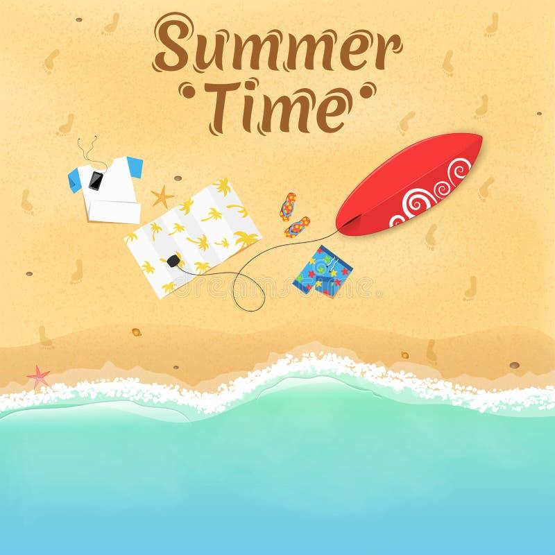 Jonge volwassenen Op het strand zijn dingen, een surfplank en toebehoren Dekking voor uw project Hoogste mening van het strand Ex royalty-vrije illustratie